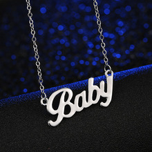 "European And American Popular brand letter Necklace ""Baby""  Rose Short Paragraph Alloy Factory Direct"