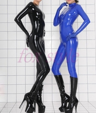 Buy nature rubber latex handmade zentai fetish tights catsuit attached gloves woman
