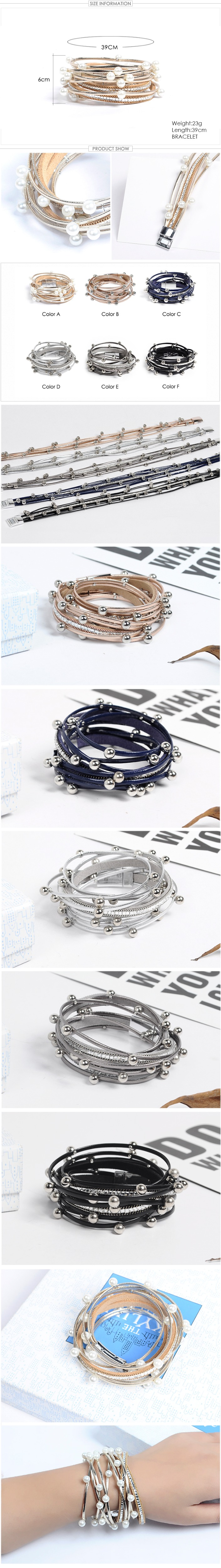 Silver Beads Wrap Leather Bangle Bracelet