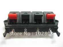6 pcs 58mmx20mm 4pin Red and Black Spring Push Type Speaker Terminal Board Connector WP4-19