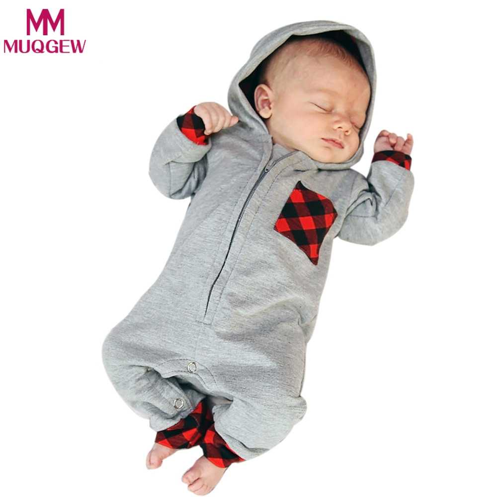 e32f6860ec27 2018 New Fashion Newborn Baby Boy Girl Clothes Zipper Hooded Romper Gary  Plaid Rompers Jumpsuit One