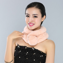 Women's winter scarf 2016 New With Cute Ball imported Tube Real Rex Rabbit Fur Scarves Russian Elegant Female Fashion fur scarf