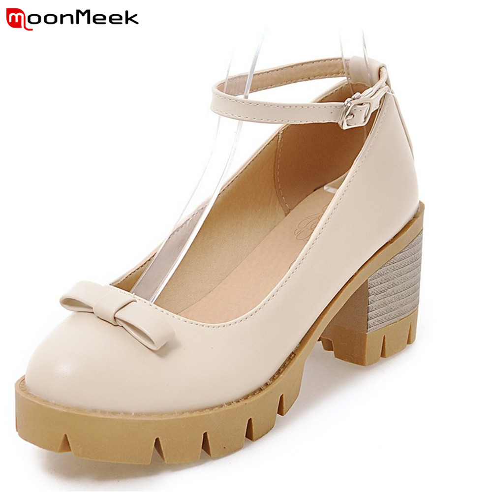 MoonMeek new arrival spring autumn round toe ladies shoes platform shoes high heels sweet with butterfly knot women pumps<br>