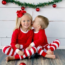 2016 Christmas Toddler Kids Clothes Long Sleeve Top + Red White Strip Baby Boys Girls Pajamas Set Casual Nightwear Clothing 1-7Y(China)