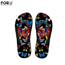 FORUDESIGNS 3D Animal Butterfly Prints Women House Flip Flops Casual Summer Beach Slippers for Ladies Black Flipflops Mujer(China)