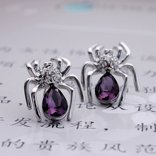 Hot Sale Sexy Crystal Spider Earrings Jewelry for Girl LM-E051 Welcome Drop Shipping(China)