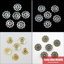 (500Pcs=1Lot ! ) Free Shipping Jewelry Finding 9MM Flower End Beads Caps Gold Silver Bronze Nickel Plated No.BC3