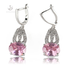 Buy SHUNXUNZE Drop earrings women bohemian Flash sale Purple Pink Cubic Zirconia Jewelry & Accessories Rhodium Plated R533 R536 for $15.35 in AliExpress store