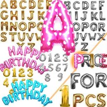 Party decoration Number Alphabet Letter foil baloons 16inch custom shaped aluminum balloon 1 piece retail(China)