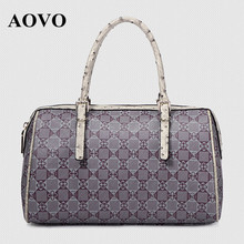 AOVO Brand Design Luxury High-grade PVC Women's Bag Handbag/Unique Ostrich pattern Top-handle bags for Elegant Fashion Ladies