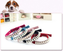 12pcs/lot Bling Pearl Pet Necklace Dog Collar Rhinestone Crystal Cat Collar Safety Diamond Necklace(China)
