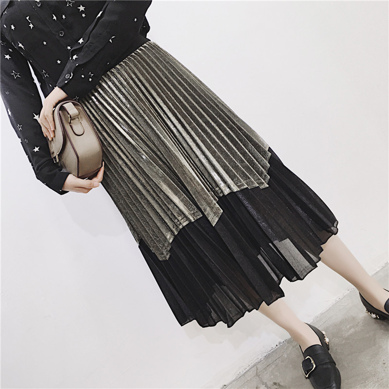 [GUTU] Autumn Summer 2018 Korean New Fashion Patchwork Color Bottoms All-match Elastic Waist Pleated Skirt Loose Women F89201 24