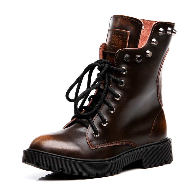 2017 Handmade Winter Women Boots Snow boots Ladies Genuine Leather Martin boots female Plus Size <br><br>Aliexpress