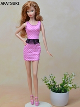 Pink Fashion Doll Clothes Fitting Mini Dress For Barbie Dolls One Piece Vestidos Party Dress For 1/6 BJD Doll Dress(China)