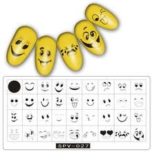 1pc Smile Nail Art Stamping Plate Rose Flower Fish Shell Dolphin Horse Stripe Cartoon Smiley Manicure Stencil Stamp Template New(China)