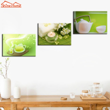 ShineHome-3pcs Canvas Prints Green Wall Painting Modular Picture Spa Nail Body Salon Massage Yoga Bottle Pot Artwork on Wall Art