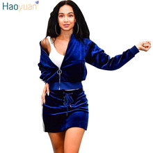 HAOYUAN Women velvet tracksuits autumn outfits long sleeve top and skirt  suit casual black blue 2ce18106c940
