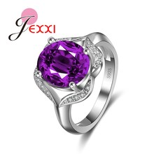 JEXXI Purple Princess Cut Crystal Wedding Engagement Rings For Women Fashion Elegant 925 Sterling Silver Rings For Lady Bijoux