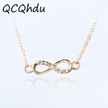 1PC Infinity Symbol Pendant Necklaces for Women Choker Lucky Number Eight Geometric Silver Gold Color Long Chain Necklace(China)