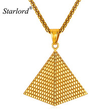 Illuminati African Jewelry Fashion Stainless Steel Charms Gold Color Egyptian Pyramid Necklaces for Women/Men GP2389(China)