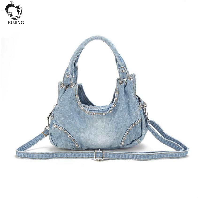KUJING Brand Fashion Handbags Premium Jeans Womens Handbags Free Shipping Luxury Shopping Casual Women Shoulders Messenger Bag<br>