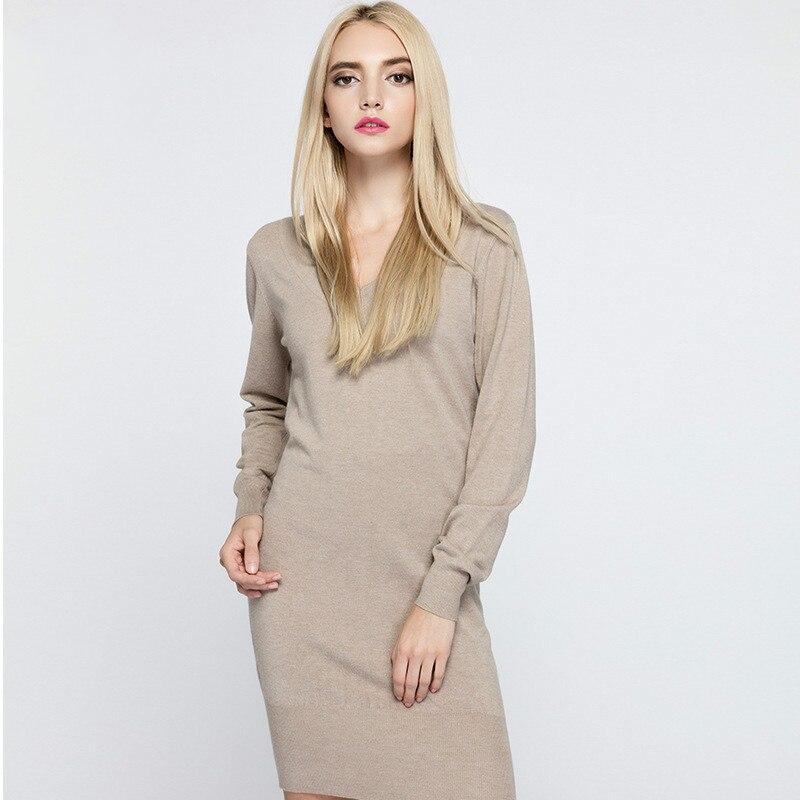 Fashion Women V Neck Dresses 2017 New Spring Autumn Sexy Long Sleeve Casual Knitted Solid Slim Short Dress Robe Femme VestidosÎäåæäà è àêñåññóàðû<br><br>