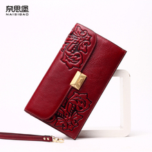 High quality Chinese style Genuine Leather Vintage female purse name brand fashion pattern Clutch Wallet women Shoulder bag