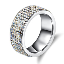 5 Rows Crystal Stainless Steel Ring Women for  Elegant Full Finger Love Wedding Rings Jewelry