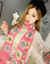 Womens Solid handmade Crochet flower scarf Neckscarf mixed color size 200*15cm 10pcs/lot #2151