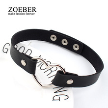 Charm female chokerTrendy Stainless Steel Heart Chokers Necklaces Colorful Leather Buckle Belt Jewelry for Women Men maxi colar(China)