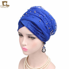 2017 New Women Luxury Gold Beaded velvet Mesh Long Head Wrap Turban Hijab Long Tube Head Scarf Tie Headscarf Ladies Turbante(China)