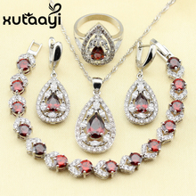 Distinctive Red Created Garnet 4PCS Jewelry Set 925 Sterling Silver Earrings Ring Necklace Pendant Bracelet Christmas gift(China)