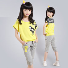 Kids Girls Sportwear Sets Clothing Sets for Summer 2Pcs / Batwing Sleeve Tee + Pants Yellow, Rose, White(China)