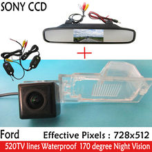 4.3inch Parking Car Rear View Mirror Monitor+Night Vision Car Rear view Reverse CCD Camera for Ford Edge Escape Mercury Mariner