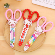 2017 Children scissors children handmade art safety paper cutting small round head with a protective shell cute cat kawaii
