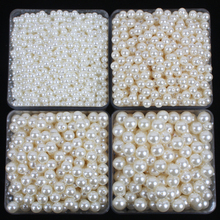 50-200pcs/lot 4-12mm Acrylic straight holes white ivory round imitation plastic pearl beads For Necklace Bracelet Jewelry Making
