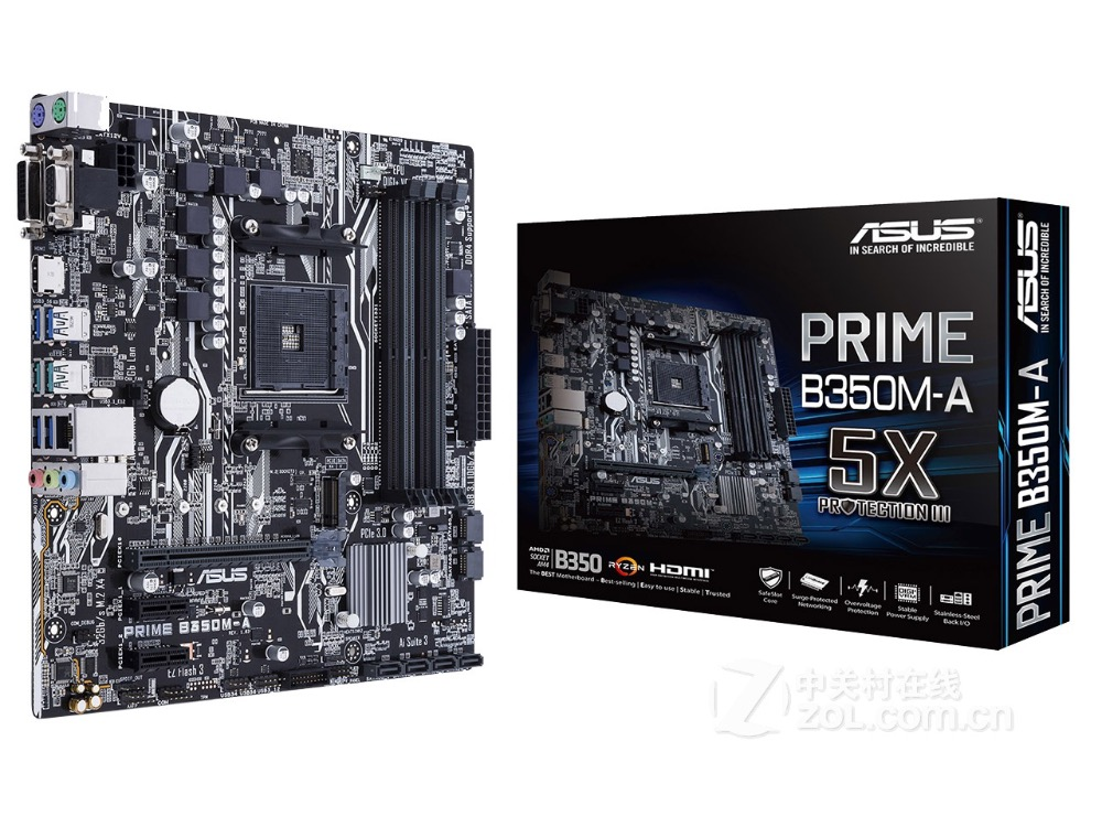 Free shipping original motherboard for new ASUS PRIME B350M-A Socket AM4 DDR4 USB2.0 USB3.1 64GB SATA3 Desktop Motherboard