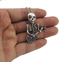 "[NO Minimum]Women's Jewelry Vintage Silver Tone 1.8""X1.4"" Play The Guitar Skull Pendant Short Necklace DY246 Free Shipping"