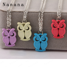 Best Deal New Fashion Lady Women Owl Pendant Colourful necklace owl necklace 1.8*2.1cm purple yellow blue red pendant  C739-C742