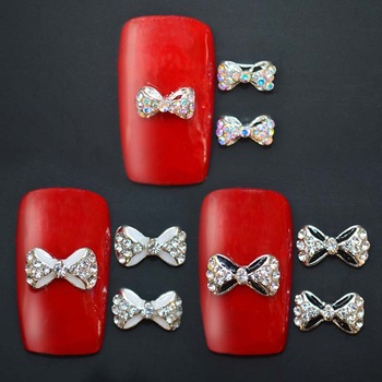 YZWLE 3Pcs Crystal DIY Nail Glitter Accessories Jewelry 3d Alloy Rhinestone Bow Tie Nail Art Decorations