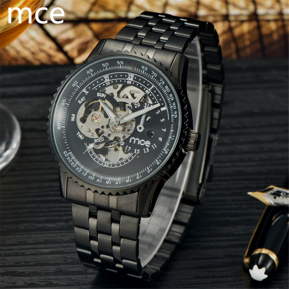 MCE Brand New Fashion Men Mechanical Watch Full Stainless steel Skeleton Steampunk Wristwatch Water resistant Reloj hombre 2016<br><br>Aliexpress