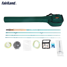 Portable Fly Fishing combo Complete 3/4 4 sections fly rod, Large Arbor fly reel  Lures Set  green rod case  fly set rod bag
