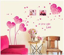 Pink Flowers Stickers Painting Romantic Wedding Room Girl Bedroom TV Background Wall Decoration Stickers Home Accessories H020