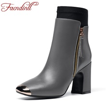 handmade brand genuine leather ankle boots woman platform shoes extreme high heel lady riding boots solid classic casual boots