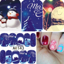 Nail Salon 48pcs/lot Snowman & Tree Nail Christmas Style Nail Sticker Water Nail Art Stickers SAA1129-1176