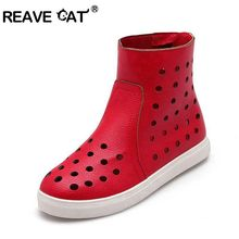 REAVE CAT Summer boots Women ankle boots Ladies shoes flat Zip Cutout PU Solid Black White Red Sweet Party Comfort cool PA185