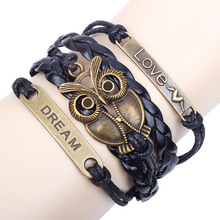 QN Multiple Rope Parts Weave Will Eye Fake Something Antique Accessories Owl Bracelet Free Shipping(China)