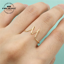 PINJEAS  Letters Custom Made Ring  Rose Gold Silver handmade Wire Wrap Initial Simple Pinky Ring Bridesmaid Gift anneau Jewelry