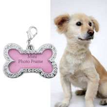 Bling Pet Dog Cat Pink Dog Bone Design Rainstone Label ID TAG Dogs Personalized Tube Collar Tags Charms Jewelry Making DIY(China)