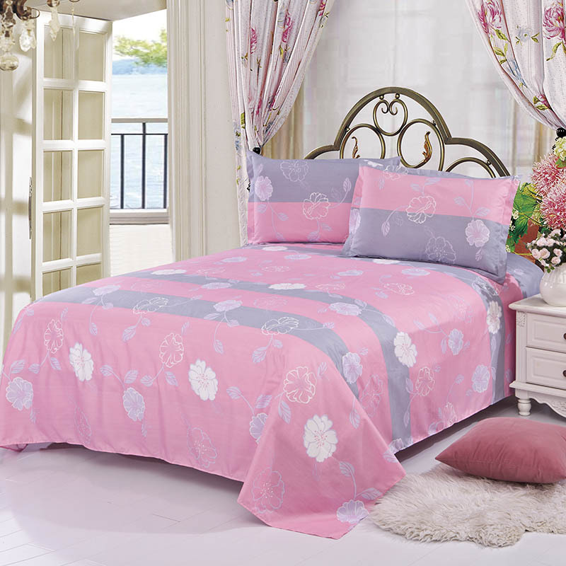 1 Piece Flat Bed Sheet (No Pillowcase) Floral Printing Bed Sheet For Single Double Bed Bedroom Use XF337-8 1